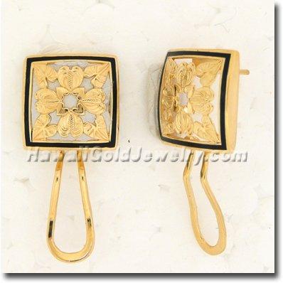 Hawaiian Anthurium Quilt Earring - Hawaii Gold Jewelry