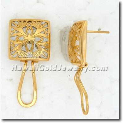 Hawaiian Bird of Paradise Quilt Earring - Hawaii Gold Jewelry