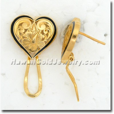 Hawaiian Cut-Out Heart Earring - Hawaii Gold Jewelry