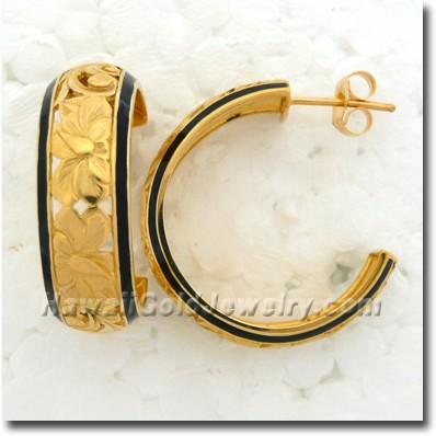 Hawaiian Dome Hoop Earring - Hawaii Gold Jewelry