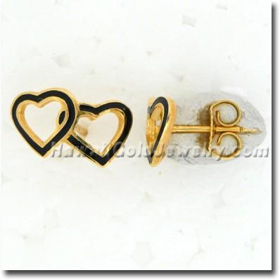 Hawaiian Double Heart Earring - Hawaii Gold Jewelry