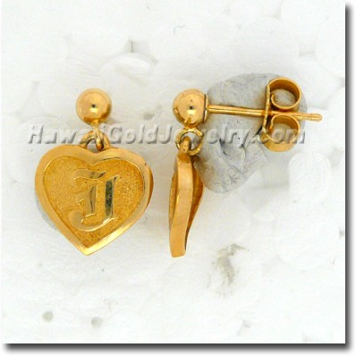 Hawaiian Friendship Heart Dangle Earring - Hawaii Gold Jewelry