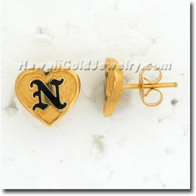 Hawaiian Friendship Heart Stud Earring - Hawaii Gold Jewelry