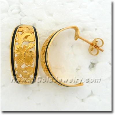 Hawaiian Hibiscus Hoop Earring - Hawaii Gold Jewelry