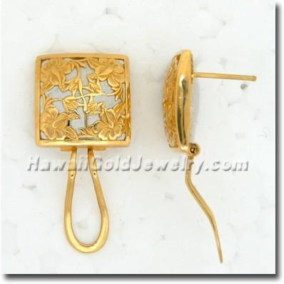 Hawaiian Hibiscus Quilt Earring - Hawaii Gold Jewelry