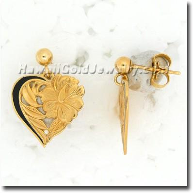 Hawaiian Leialoha Heart Earring - Hawaii Gold Jewelry