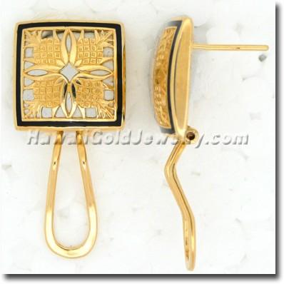 Hawaiian Pineapple Quilt Earring - Hawaii Gold Jewelry