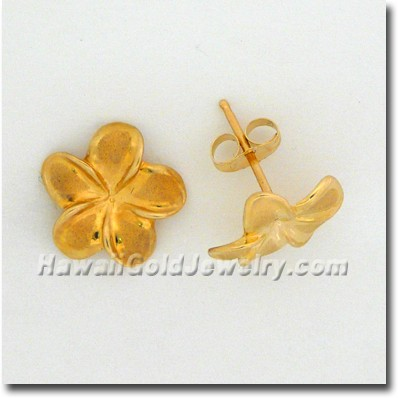 Hawaiian Plumeria Earring - Hawaii Gold Jewelry