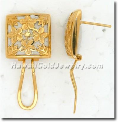 Hawaiian Plumeria Quilt Earring - Hawaii Gold Jewelry