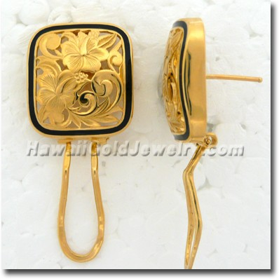 Hawaiian Puanani Square Earring - Hawaii Gold Jewelry