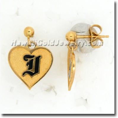 Hawaiian Raised Enamel Heart Dangle Earring - Hawaii Gold Jewelry