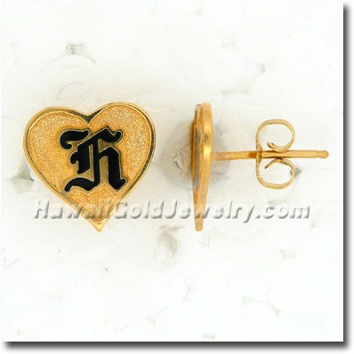 Hawaiian Raised Enamel Heart Stud Earrings - Hawaii Gold Jewelry