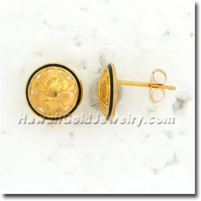 Hawaiian Round Cut Out Earring - Hawaii Gold Jewelry