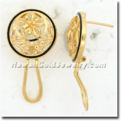 Hawaiian Round Plumeria Earring - Hawaii Gold Jewelry