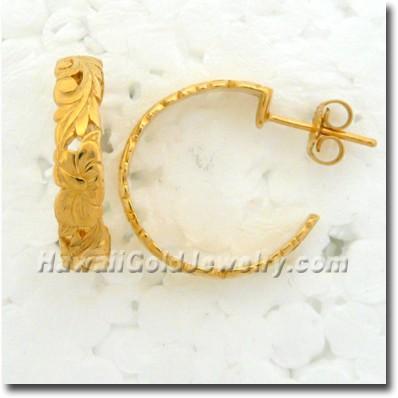 Hawaiian Scallop Earring - Hawaii Gold Jewelry