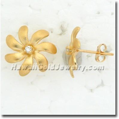 Hawaiian Tiare Earring - Hawaii Gold Jewelry