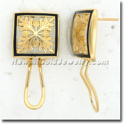 Hawaiian Ulu Quilt Earring - Hawaii Gold Jewelry