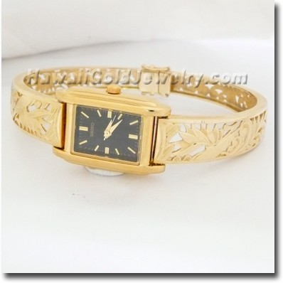 Hawaiian Bird of Paradise Bangle Watch - Hawaii Gold Jewelry