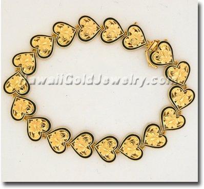 Hawaiian Cut-Out Heart Bracelet - Hawaii Gold Jewelry
