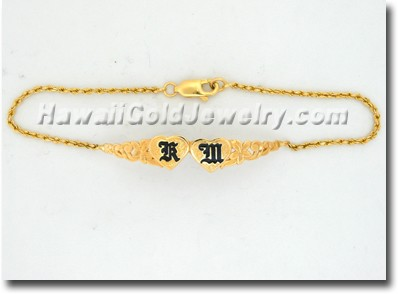 Hawaiian Double Heart ID Bracelets - Hawaii Gold Jewelry
