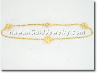 Hawaiian Flower Anklet - Hawaii Gold Jewelry