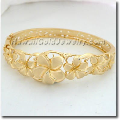 Hawaiian Flower Bangle - Hawaii Gold Jewelry