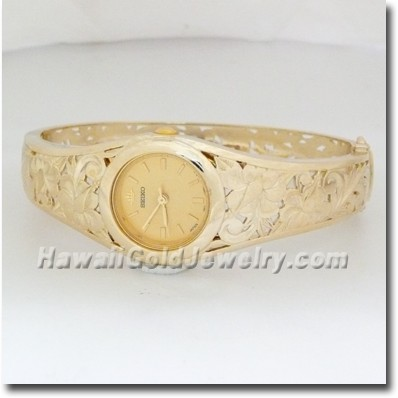 Hawaiian Ladies Bangle Watch - Hawaii Gold Jewelry