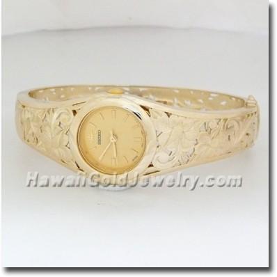 Hawaiian Ladies Bangle Watch - Hawaii Gold Jewelry