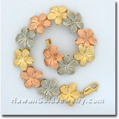 Hawaiian Plumeria Link Bracelet - Hawaii Gold Jewelry