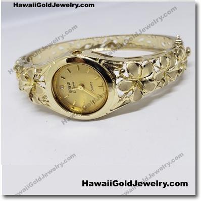 Hawaiian Plumeria Bangle Watch Round - Hawaii Gold Jewelry