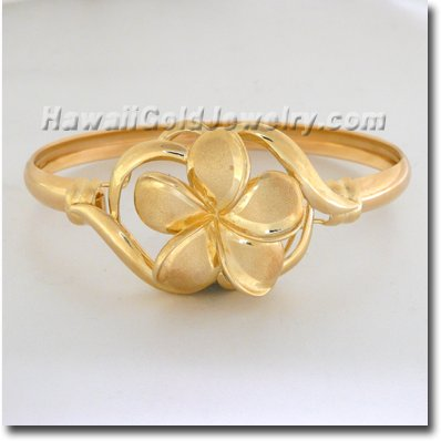 Hawaiian Plumeria & Flower Bracelet - Hawaii Gold Jewelry