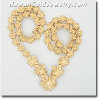 Hawaiian Plumeria Necklace - Hawaii Gold Jewelry