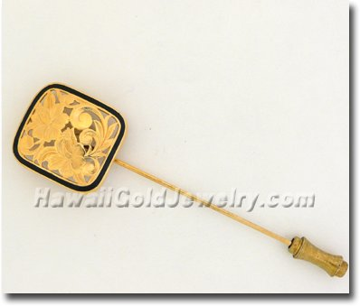Hawaiian Puanani Stickpin - Hawaii Gold Jewelry