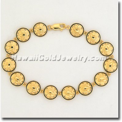 Hawaiian Round Bracelet Link - Hawaii Gold Jewelry