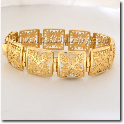 Hawaiian Ulu Quilt Link Bracelet - Hawaii Gold Jewelry