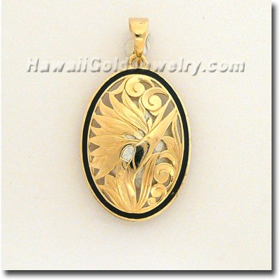 Hawaiian Bird of Paradise Pendant - Hawaii Gold Jewelry