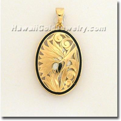 Hawaiian Bird of Paradise Pendant - Hawaii Gold Jewelry