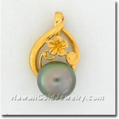 Hawaiian Black Pearl Pendant - Hawaii Gold Jewelry