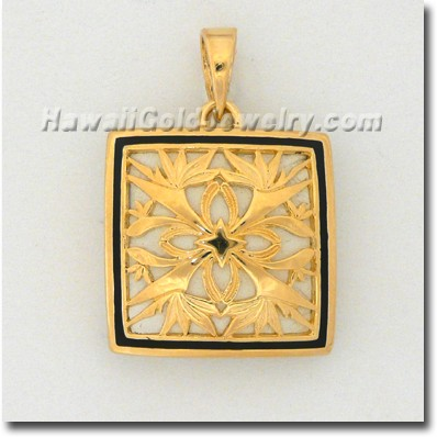 Hawaiian Bird of Paradise Quilt Pendant - Hawaii Gold Jewelry
