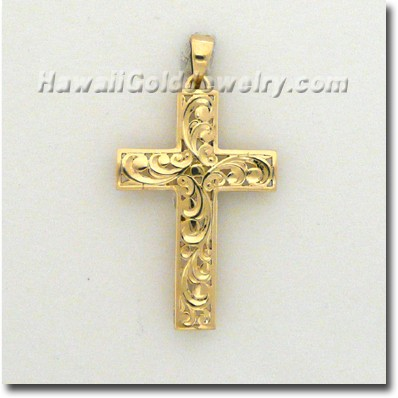 Hawaiian Cut-Out Cross Pendant - Hawaii Gold Jewelry