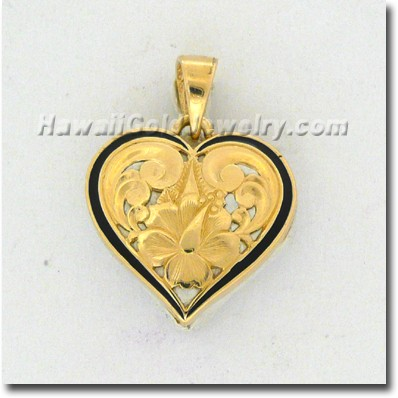 Hawaiian Cut-Out Heart Pendant - Hawaii Gold Jewelry