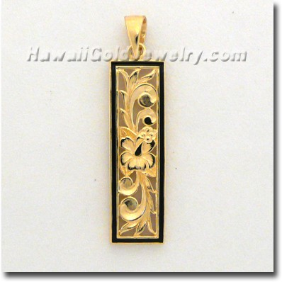 Hawaiian Flat Vertical Pendant - Hawaii Gold Jewelry