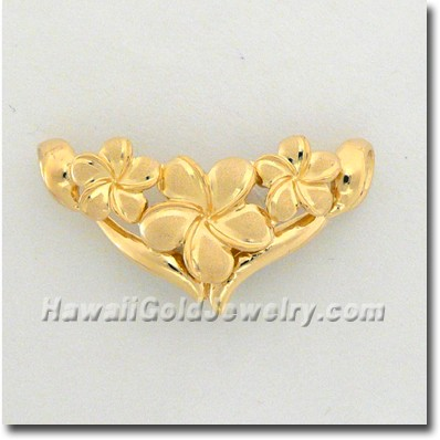 Hawaiian Flower Slide Pendant - Hawaii Gold Jewelry