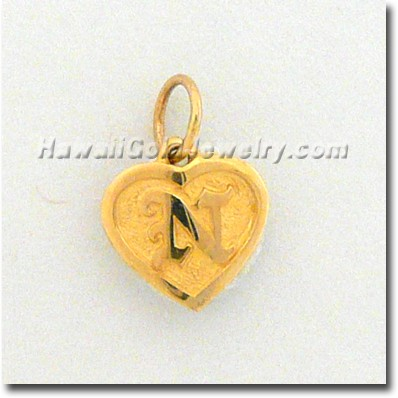 Hawaiian Friendship Heart Pendant - Hawaii Gold Jewelry