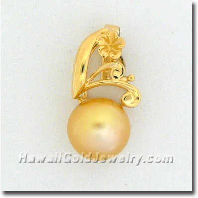 Hawaiian Golden Pearl Pendant - Hawaii Gold Jewelry