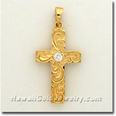 Hawaiian Hawaiian Cross Pendant - Hawaii Gold Jewelry