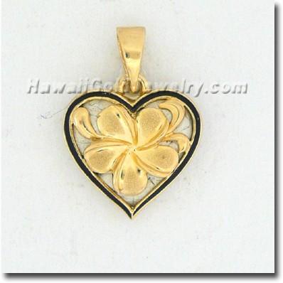 Hawaiian Heart Plumeria Pendant - Hawaii Gold Jewelry