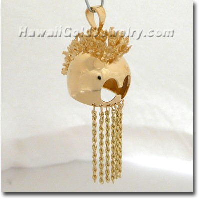 Hawaiian Helmet Pendant - Hawaii Gold Jewelry