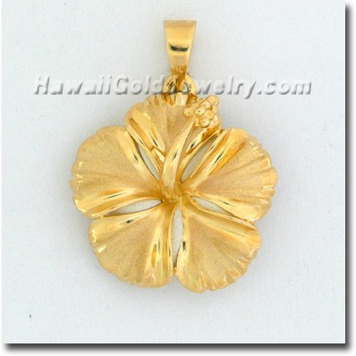 Hawaiian Hibiscus Pendant - Hawaii Gold Jewelry