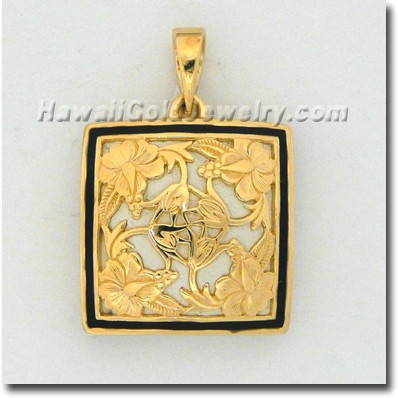 Hawaiian Hibiscus Quilt Pendant - Hawaii Gold Jewelry